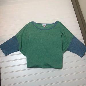 Lularoe size medium shirt euc blue and green